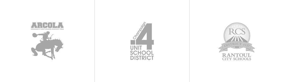 Arcola, Champaign Unit 4, and Rantoul School District Logos